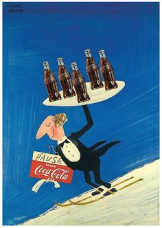 Ad for Coca-Cola. Illustration by Herbert Leupin, 1954.