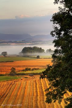 The Carse of Stirling, from Kippen, looking towards the Trossachs Hills, Scotland; photo by .Karl Williams