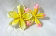 pink and yellow plumeria (frangipani) - tsumami kanzashi hair flower $15.00