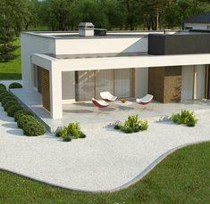 Zx105 B to wyjątkowy dom z kategorii projekty domów tanich w budowie Bungalow Haus Design, Modern House Design, Modern House Plans, Home Building Design, Building A House, Style At Home, Eckhaus, Plans Architecture, Futuristisches Design