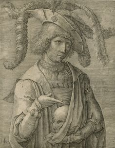 """Lucas van Leyden, """"Young Man with a Skull"""" (Netherlandish, 1519), engraving (Gift of Charles Pendexter, courtesy Bowdoin College Museum of Art)"""