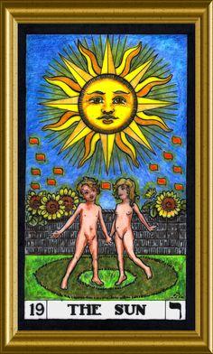 Card 19 of the BOTA Major Arcana, The Sun. Tarot Meanings, Trump Card, Major Arcana, Picture Cards, Oracle Cards, Tarot Decks, Deck Of Cards, Tarot Cards, Masters