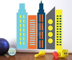 Skyscrapers Wall Decals LARGE Nursery Wall decor by UrbanTickle