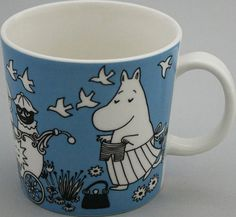 Muumimuki Rauha - Muumimukihaku.fi Tove Jansson, Moomin Mugs, Blue And White China, Fairy Godmother, A Comics, Vintage China, Dear Santa, Mug Designs, Scandinavian Design