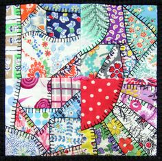 feed sack quilts | Blogger's Quilt Festival – Feedsack Crazy Quilt – Q is for ...