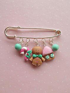 Christmas Brooch Gingerbread Man Jewelry Handmade