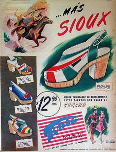 1940s shoe ad cork wedge heel sandal red whit blue green yellow pump color illustration print ad vintage fashion
