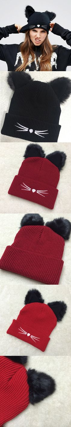 Warm Winter Hat For Women 2017 Wool Knitted Women's Cat Ears Hats Skullies Fur Pompom Caps Female Beanies Bonnet Femme