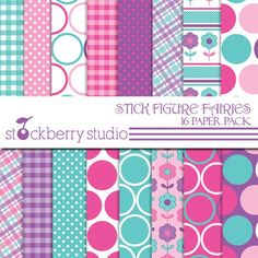 Items similar to Pink and Purple Digital Paper Pack - Aqua Blue Patterned Paper -Stick Figure Fairies Digital Scrapbooking Paper Pack on Etsy Cv Cover Letter, Stick Figures, Background Patterns, Scrapbook Paper, Digital Scrapbooking, Fairies, My Arts, Lettering, Birthday