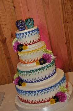 Mexican Day of the Dead Wedding Cake - This was a very simple cake ...