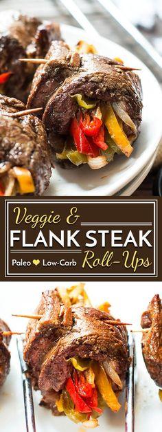 Balsamic Glazed Flank Steak & Veggie Roll-Ups A healthy, gluten free dinner recipe for veggie and flank steak roll-ups. Cook these low-carb and Paleo steak roll-ups in a skillet or fire up the grill! Flank Steak Rolls, Steak Roll Ups, Flank Steak Recipes, Gluten Free Recipes For Dinner, Paleo Dinner, Healthy Dinner Recipes, Dinner Menu, Healthy Meals, Healthy Steak