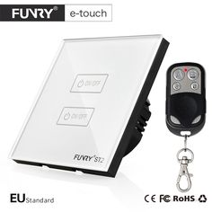 FUNRY ST2-EU Standard Luxury White Crystal Glass 2 Gang 1 Way Touch Switch Wall Switch Smart  Remote Control for HomeAutomation