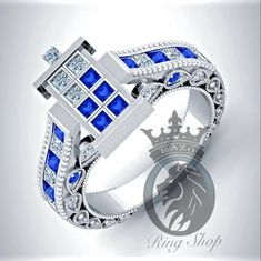 Beautiful Doctor Who 1/100th Scale TARDIS Engagement Ring