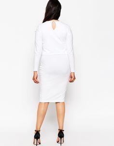 Image 2 ofASOS CURVE Midi Bodycon Dress In Cotton Modal With Double Layer