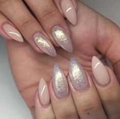 """Nude with Attitude"" gel polish and Gold sparkle pretties powder from Light Elegance by @mk_uniquenails"