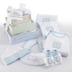 "$32 ""Patty Cake"" Six-Piece Layette Set in Keepsake Gift Box Tower (Blue) Put your hands together for this endearing six-piece layette gift set, sweet and special enough to take the blue ribbon for Best Gift at the Baby Shower. Now your cookin'! Every piece in this precious layette is a heartwarming tribute to a time-honored nursery rhyme."