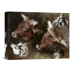 Global Gallery 'Heads of Sheep and Cattle' by Sir Edwin Landseer Painting Print on Wrapped Canvas
