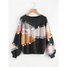 SheIn(sheinside) Sequin Decoration Contrast Sweater (€21) ❤ liked on Polyvore featuring tops, sweaters, multicolor, sequin sleeve top, multicolor sweater, long sleeve pullover, sweater pullover and sequin sweater