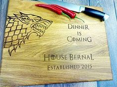 GAME of THRONES with personalization. Dinner is coming. Winter is coming. Custom Laser engraved cutting board. Custom cutting board. Wedding gift. Housewarming gift. Stark