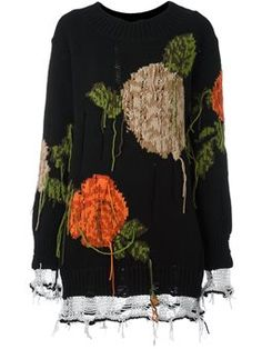 floral intarsia oversized jumper