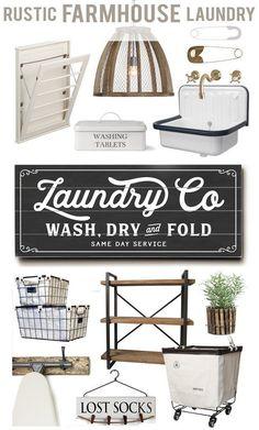 laundry room / decor / farmhouse / industrial / organization / basket / buckets / sign / ironing board