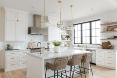Christine Andrew from Hello Fashion shares her dream kitchen reveal, with full product and construction details, and links to recreate the look. Home Decor Kitchen, Kitchen Interior, Kitchen Dining, Kitchen Wood, Diy Kitchen, Kitchen Upper Cabinets, White Kitchen Floor, White Ikea Kitchen, Casa Clean