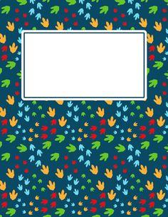 Free printable dinosaur footprint binder cover template. Download the cover in JPG or PDF format at http://bindercovers.net/download/dinosaur-footprint-binder-cover/