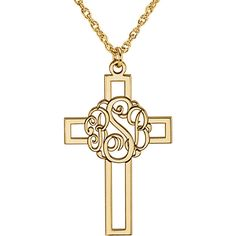 Script Monogram Cross Pendant holds 3 custom initials of an individual, children, or school.  A unique take on the personalized jewelry trend, this monogram cross pendant is a special way to commemorate special occasions such as First Communion, graduation, Mother's Day or Confirmation. Available in 14K yellow, white or rose gold, as well as sterling silver, with or without 14K yellow or rose gold plating.  Ref# STU-86034.