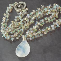 Reserved For C - Payment 3 - Rainbow Moonstone Ethiopian Opal Cluster Statement Silver Necklace
