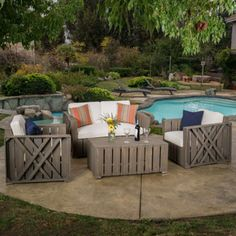 Outdoor Cadence 4-piece Acacia Wood Chat Set with Cushions by Christopher Knight Home | Overstock.com Shopping - The Best Deals on Sofas, Chairs & Sectionals