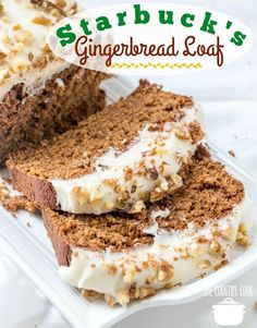 Copycat Starbucks Gingerbread Loaf with Cream Cheese Frosting The Country Cook - Copycat Starbucks Gingerbread Loaf with Cream Cheese Frosting tastes even better at home! Moist and delicious and cheaper to make from scratch! Loaf Recipes, Baking Recipes, Cake Recipes, Pumpkin Recipes, Quick Bread Recipes, Cleaning Recipes, Holiday Baking, Christmas Baking, Holiday Bread