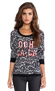 Markus Lupfer Ooh La La French Lace Sequin Pullover in Black & White