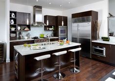 Kitchen for small spaces on pinterest kitchen cabinets for Chocolate pear kitchen cabinets