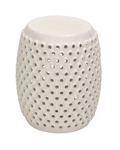 White Polished Fancy Ceramic White Foot Stool