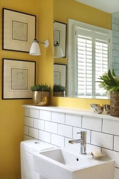 There are several great small bathroom color schemes that homeowner can choose. Today we will give you some suggestions about great small bathroom color schemes. Modern Bathroom, White Bathroom, Painting Bathroom, Downstairs Bathroom, Bathroom Design Small, Yellow Bathrooms, Bathroom Decor, Beautiful Bathrooms, Bathroom Inspiration