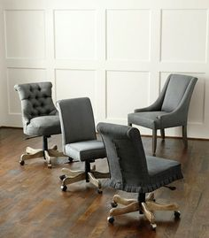 Gray upholstered chairs
