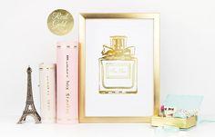 Mon Cheri Print, Gold Perfume Print, Real Gold Foil, French Decor, Fashion Art, Paris Decor, Perfume Poster, Vanity Decor, Perfume Bottle.