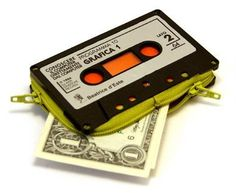 Italian designer Marcella Foschi has created these one-of-kind wallets out of old audio cassette tapes.