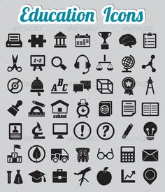 Set of 50 Education Icons — Vector EPS #book #student • Available here → https://graphicriver.net/item/set-of-50-education-icons-/3471232?ref=pxcr