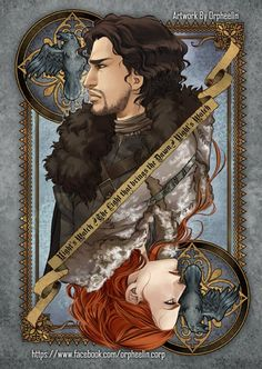 Deck of cards art by Orpheelin. John & Ygritte