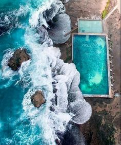 """dailyoverview: """" Check out this incredible shot of the ocean pool at Mona Vale Beach, located in the suburbs of Sydney, Australia. There are a number of public ocean pools in New South Wales, offering stunning areas to swim, situated on the rocky. Aerial Photography, Travel Photography, Sydney Beaches, Photos Voyages, Rock Pools, Photo Projects, Birds Eye View, Beach Pool, Photo Instagram"""