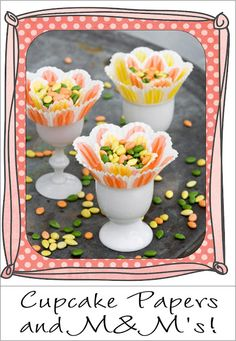 Cupcake papers and candy for a spring table.