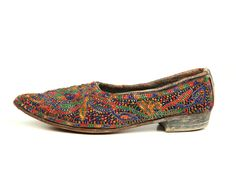 Ladies' glass bead decorated shoe from Uzbekistan, late 19th century.