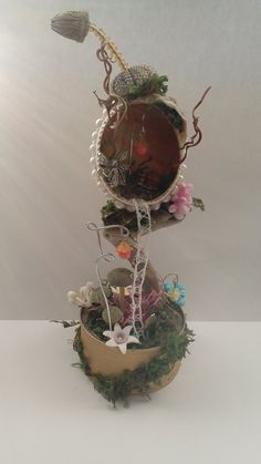 decorated hens egg, fairy treehouse, eggart, decorated egg shell, collectible, diorama,micro mini, unusual gift idea by jansfabfairies on Etsy