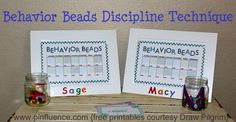 """Behavior Beads Discipline Technique. Each day the child starts out with a preset # of beads.  Misbehavior leads to """"losing"""" beads.  Each night beads are counted & banked to later be used to buy special treats/experiences.      Free printable courtesy Draw Pilgrim."""