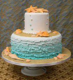 Beach themed ruffle cake