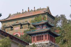 Chinese Architecture: The Summer Palace, Hangzhou with imperial gardens of Qing Dynasty against Kunming Lake and Wanshou Mountain. Mansions, Pavilions and the 'Marble Boat'. UNESCO site, 1998.