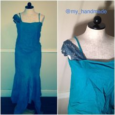 Handmade asymmetrical maxi party dress Handmade by me. Worn once for a couple of hours. Feel free to make reasonable offers. Turquoise color, 100% cotton, bottom is asymmetrically cut, front looks like a 2 piece but is one. Spaghetti straps but one sleeve has an off shoulder lace sleeve. Fits sizes 10-12, has a little stretch. Handmade Dresses