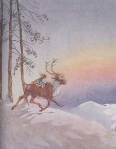 """""""On and on they sped."""" Honor C. Appleton's illustration for Hans Christian Andersen's The Snow Queen"""