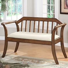 Olivia Upholstered SlatBack Wooden Bench *** Be sure to check out this awesome product. (This is an affiliate link) #PatioFurnitureOutdoor